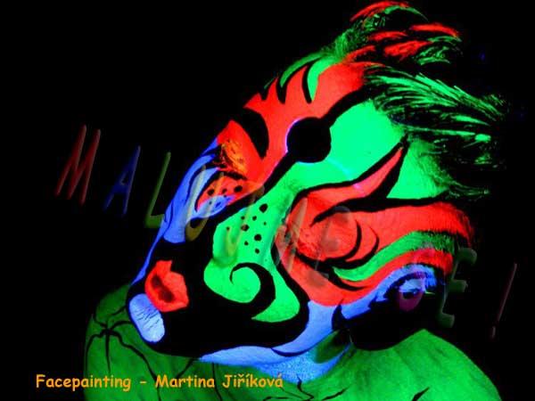 Facepainting UV barvy na obličej