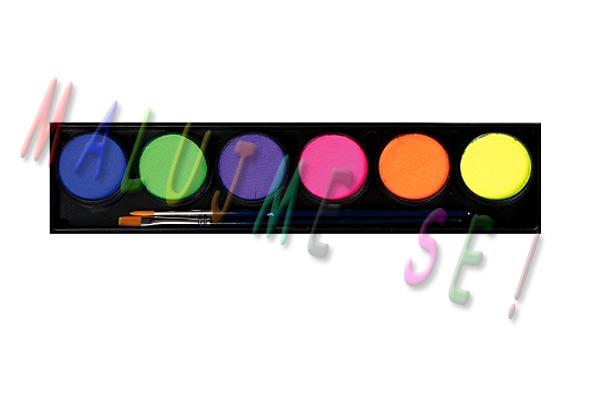 Sada UV neon barev pro malování na obličej 6x10g